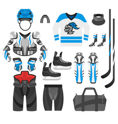 Flat style set of hockey player vector