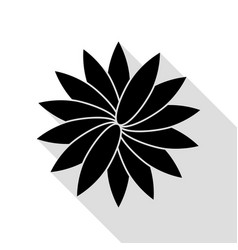 Flower sign black icon with flat style shadow vector
