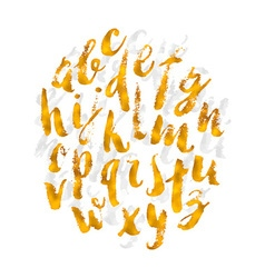 Hand drawn gold watercolor alphabet made with vector