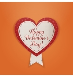 Happy valentines day textile badge with ribbon vector