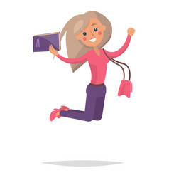 jumping blond girl student with book vector image vector image