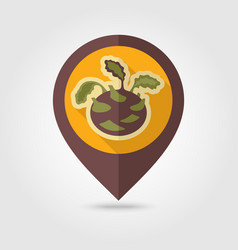 Kohlrabi flat pin map icon vegetable vector