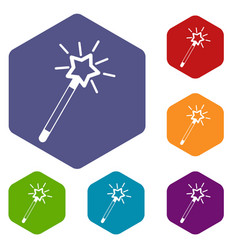 magic wand icons set vector image