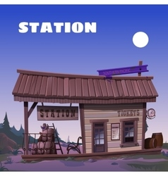 Old tavern on the background of the wild west vector