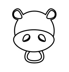 Outline hippo head animal vector