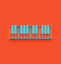 Piano keyboard sign whitish icon on brick vector