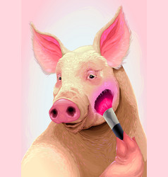 Pig is applying the blush on her cheek vector
