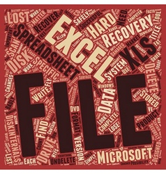 Recover Deleted Excel Spreadsheets text background vector image