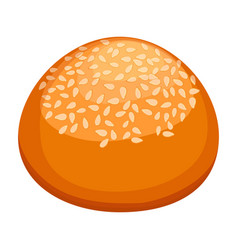 Round bun covered in sesame realistic style vector