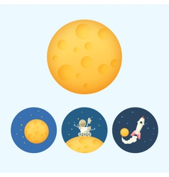 Set icons with moon spaceship moonwalker rover vector image vector image
