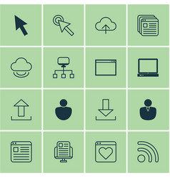 Set of 16 web icons includes website page blog vector