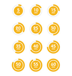 set of timers sign icon full rotation arrow timer vector image