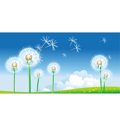 Spring landscape with dandelions vector