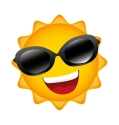 Sun summer character isolated icon vector
