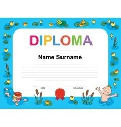 Swimming award certificate template vector
