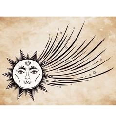 Vintage comet symbol vector image vector image