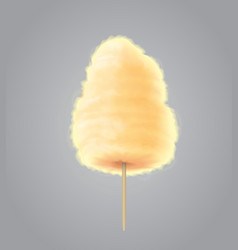 Yellow cotton candy realistic sugar cloud vector