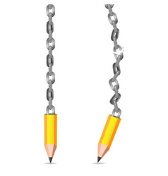 Yellow pencil metal chain broken vector