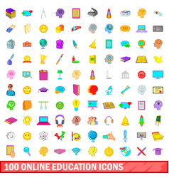 100 online education icons set cartoon style vector image