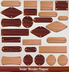 Set Wooden labels vector image