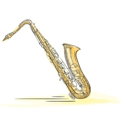 Sax drawn watercolor vector
