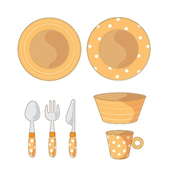 Tableware objects cartoon vector
