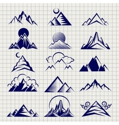 Mountain icons on notebook background vector