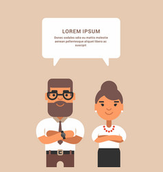 Business woman and man in formal wear with vector