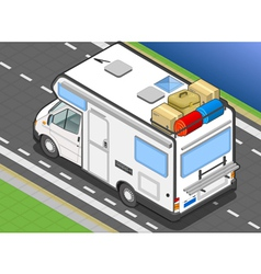 Isometric camper in rear view vector
