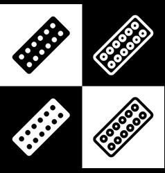 Medical pills sign  black and white icons vector