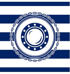 Marine emblem with a porthole vector