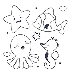 Cute sea characters coloring book vector image