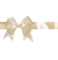 Gold ribbon with bow isolated on white eps 10 vector