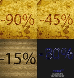 45 15 80 icon set of percent discount on abstract vector