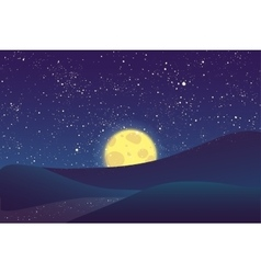 Night moon shining stars on blue sky vector