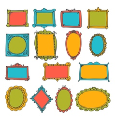 Set of hand drawn frames cute decorative elements vector