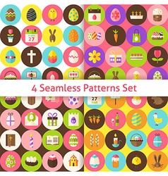 Four flat happy easter seamless pattern set with vector