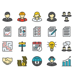 Business colored icons vector