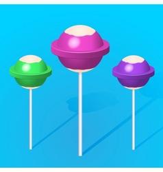 3d colorful sweet lollipops vector image