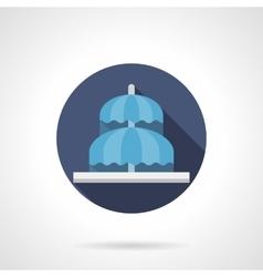 Umbrella fountain flat color round icon vector