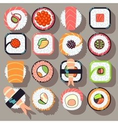 Sushi japanese cuisine food flat icons vector