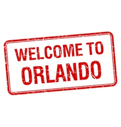 Welcome to orlando red grunge square stamp vector