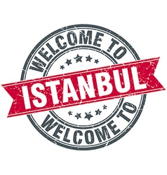 Welcome to istanbul red round vintage stamp vector