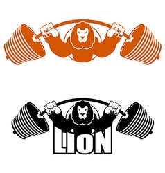 Angry leo strong athlete barbell and aggressive vector