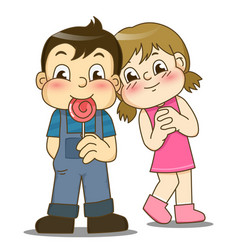 Cartoon little girl and handsome boy with lollipop vector