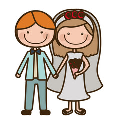 Color silhouette cartoon couple in wedding suit vector