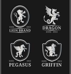 crest monogram templates luxury pegasus vector image