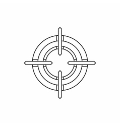 Crosshair reticle icon in outline style vector