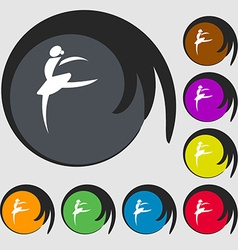 Dance girl ballet ballerina icon symbols on eight vector