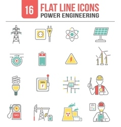 Energy power line icons set vector
